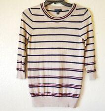 J.Crew XS Striped Tippi Sweater Camel /Navy / Orange Stripe 32914 Wool Layering