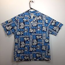 Genuine Hawaiian Aloha Shirt - Howie - XL - blue plaid and tapa crisp!