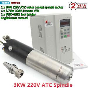 220V 3KW ER25 ATC Spindle Motor (Water Cooled) 24000rpm BT30 &3.7KW inverter VFD