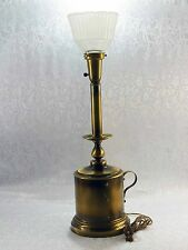Vintage Antique Brass Colonial Oil Can Style Candle Stick Table Accent Lamp