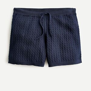 NWT J.Crew Cable-knit Short cotton-cashmere Sweater ~ Sz XS ~ Navy ~ SOFT