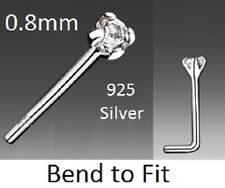 Nose Stud - 925 Silver - 0.8mm Bar - 2mm CLEAR Crystal - ( Bend to Fit )