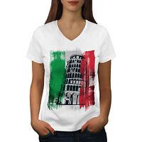 Wellcoda Italy Womens V-Neck T-shirt, Italy City Graphic Design Tee