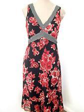 Black & Red Roses Floral striped V neck long sheer Chiffon floaty Tea dress 10