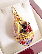 ONE OF A KIND MADE SOLID STERLING SILVER 925 & 24K GOLD EGG PENDANT W/ HARLEQUIN