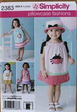 PILLOWCASE DRESS & HAT Simplicity Pattern 2383 NEW Size Child/Girl 1/2-4