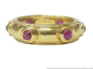 Tiffany Co. 18k Gold Natural Ruby Cabochon Ring Classic 5mm Wide Band Size 4.75