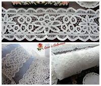 "5Y Victorian White Battenburg Lace Trim~7"" Wide~Rose Beauty~Cotton~Wedding/DIY~"