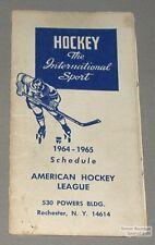 Original 1964-65 American Hockey League Schedule