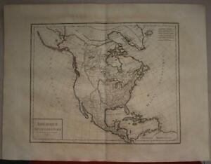 NORTH AMERICA 1803 JEAN BAPTISTE POIRSON UNUSUAL ANTIQUE COPPER ENGRAVED MAP