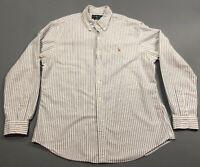 Vintage Ralph Lauren Blue White Striped Button Front Up Shirt Sz XL Custom Fit