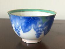 Koransha Tea Cup with Blue Grape Leafs & Gold Trim Made in Japan