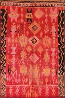Vintage Geometric Moroccan Oriental Area Rug Wool Hand-knotted Tribal Carpet 6x8