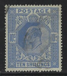 Great Britain 1902 10/ Edward VII Ultramarine Sc# 141 used