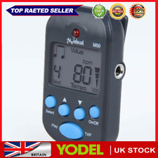 More details for m50 professional lcd clip-on digital tuner metronome for guitar piano black
