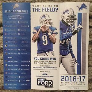 2016 - 2017 Detroit Lions Multifold Pocket Schedule Matt Stanford Ford Field NFL