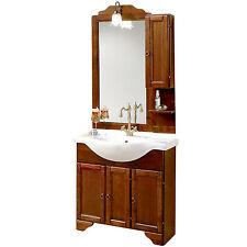 Mobile da bagno in legno classico cm 85 con 3 ante specchiera applique e pensile