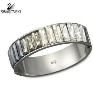 "Authentic Swarovski "" Black Diamond Platinum Cuff "" Crystal Bangle 1098485 BNWT"