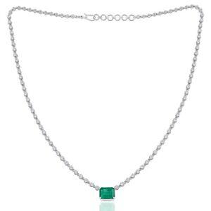 4.96 TCW Emerald Gemstone Charm Pendant 18k White Gold Necklace Diamond Jewelry