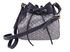 Auth Louis Vuitton Monogram Mini Lin Noe Shoulder Bag Navy Blue Gold - e48154a