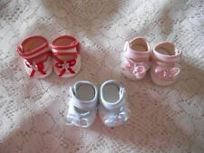 Doll Clothes 2 1/2 in. Shoes White-PINK Trim
