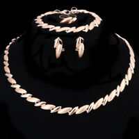 Fashion Women Gold/Silver Plated Necklace Bracelet Earring Ring Jewelry Sets