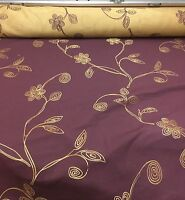 SUPER LUXURIOUS PURPLE GOLD EMBROIDERY CURTAIN FABRIC 7.5 METRES