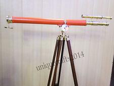Nautical Navy Double Barrel Spyglass Telescope With Wooden Tripod Decor Item.