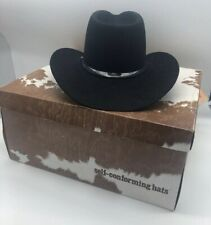 Resistol Self Confirming Cowboy Hat 6 7/8 Quicksil 049 Black 3 1/2 Brim In Box