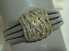 Designer LAGOS S/S 18K Wide Diamond Pave' Caviar Beaded Embrace Bracelet, sz md