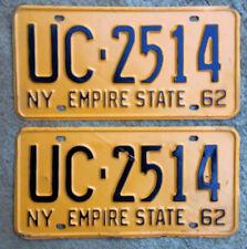 1962 New York license plate pair UC 2514 YOM DMV clear Chevy Impala Ford Falcon
