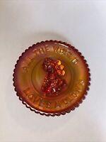 """VTG MOSSER GLASS Plate All the World Loves a Clown Orange Carnival 3 1/2"""""""