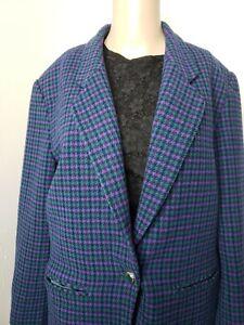 Pendleton Women's Wool Suit Blazer and Skirt Size 12 Green Purple Check Vintage