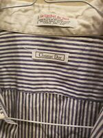 Christian Dior Mens Dress Shirt 16 - 33 Blue White Stripe Button Down