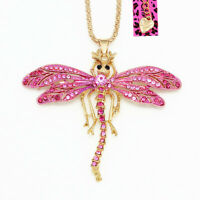 Women's Enamel Crystal Cute Dragonfly Pendant Chain Betsey Johnson Necklace Gift