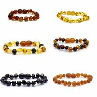 Genuine Baltic Amber Bracelet/Anklet - Beads Knotted sizes 14-25 cm, 6 colours