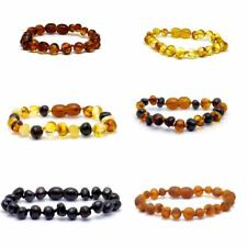 Genuine Baltic Amber Bracelet/Anklet Knotted Beads - 14-25cm  sizes, 6 colours