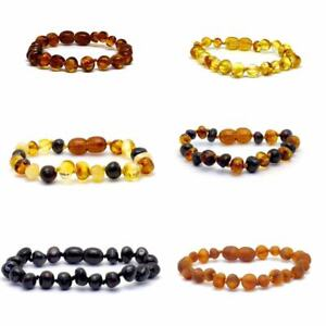 Genuine Amber Bracelet/Anklet Knotted Beads - 14-25cm + BESPOKE sizes, 7 colours