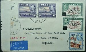 FIJI 24 NOV 1941 CENSORED TRANS-PACIFIC AIRMAIL COVER FROM LABASA TO ISLE OF MAN