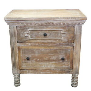 """32"""" W Katherine Nightstand 2 Drawer hand carved details distressed white paint"""