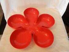 "Red Melamine Flower Shaped Chip Appetizer Serving Bowl 14.875"" Diameter"