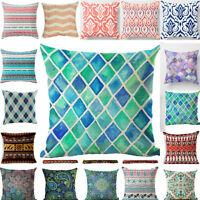 Pattern Pillow Linen Bohemian Decor Case Cushion 18'' Cover Geometric Home