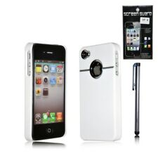 Apple iPhone 4 4S CHROME Hard Case Back Cover + Screen Protector + Stylus White