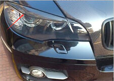 Carbon Fiber Front Head Light Eyelid Cover Trim 2pcs For BMW X6 E71 2008-2014