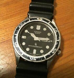 VTG 1984 Citizen 38mm Mid Size Diver Watch Quartz Patina Japan