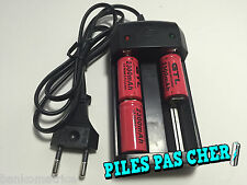 3 Piles Accus Rechargeables CR123A 16340 3.7V 2300Mah GTL Li-ion + CHARGEUR 2016