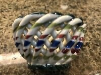 Vintage Lace Ribbon Lattice Basket,Hand-Painted Ceramic Bowl w/Lid Made in Spain