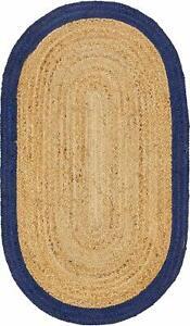Jute Natural Rug Oval Carpet Handmade 3x8 Feet Vintage Reversible Shaped Floor