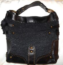 ISABELLA FIORE  BLACK WOVEN LEATHER GLORY CARINA OVERSIZE BAG HOBO