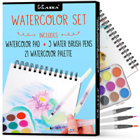 Kassa Watercolor Set - 21 Paints, 3 Water Brush Pens & 30 Page Painting Pad USA